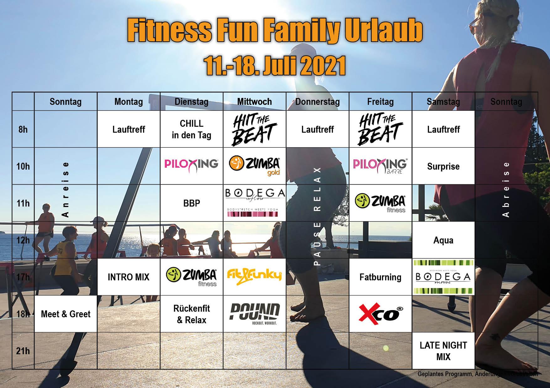 Fitness Fun Family Kurs Programm 2021