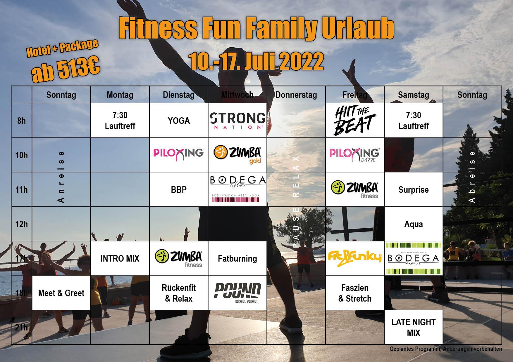 Fitness Fun Family Kurs Programm 2022